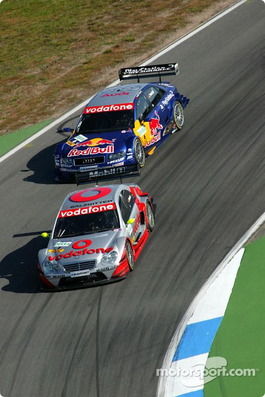 Bernd Schneider, Team HWA, AMG-Mercedes C-Klasse 2004; Martin Tomczyk, Team Abt Sportsline, Audi A4 DTM 2004