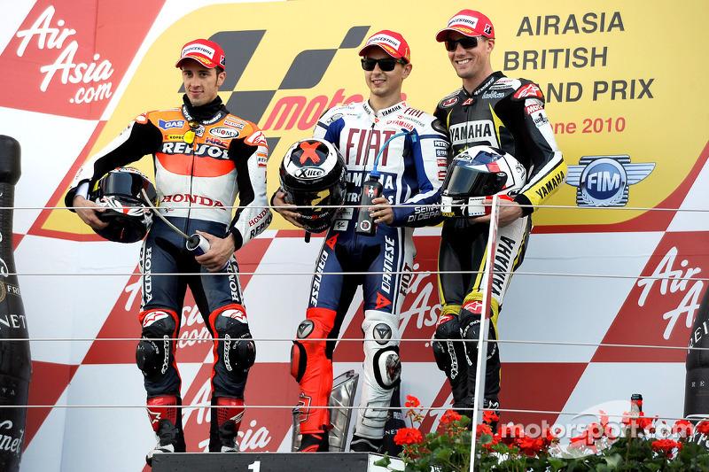 2010: 1. Jorge Lorenzo, 2. Andrea Dovizioso, 3. Ben Spies