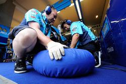 Rizla Suzuki MotoGP team members at work