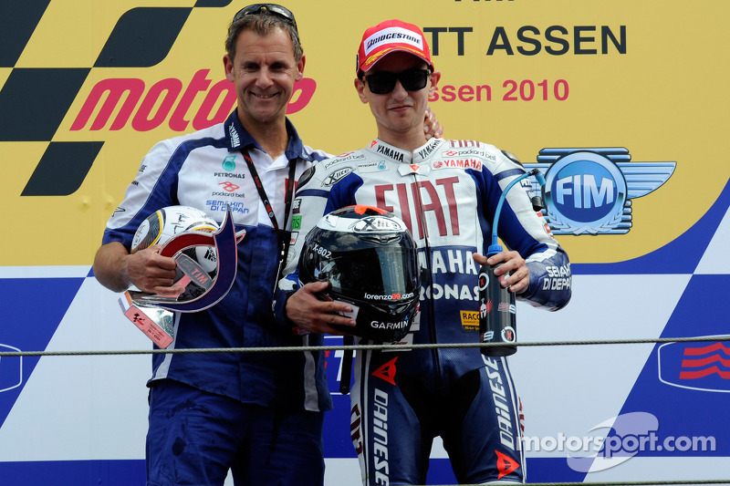 Podium: race winner Jorge Lorenzo, Fiat Yamaha Team with Wilco Zeelenberg