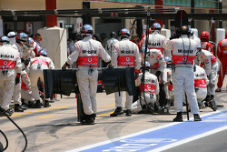 Lewis Hamilton, McLaren Mercedes gets a new front wing during the pit stop