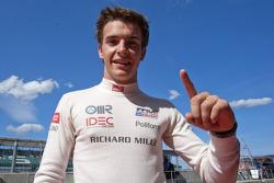 Jules Bianchi celebrates his pole position