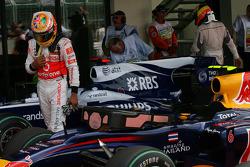 Lewis Hamilton, McLaren Mercedes looks at the Red Bull