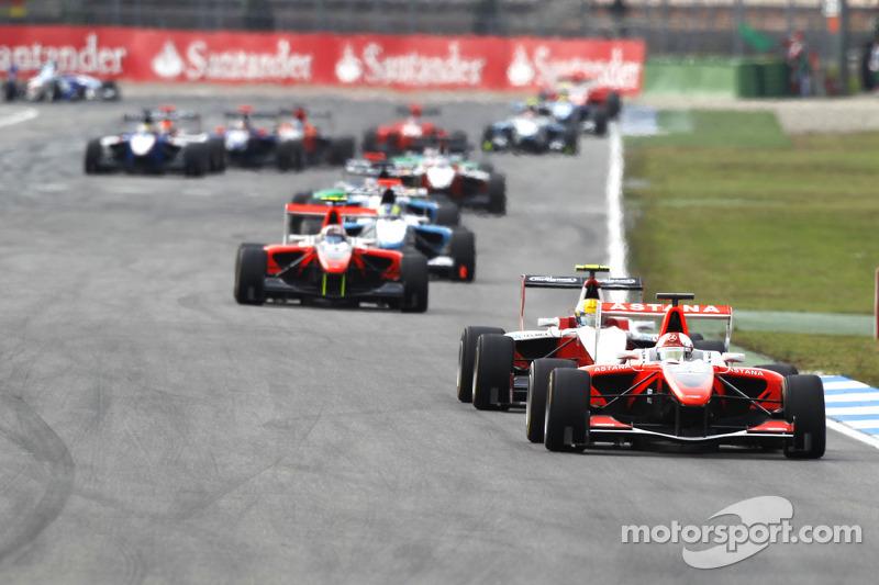 Daniel Juncadella rijdt voor Esteban Gutierrez en Stefano Coletti bij de herstart