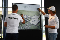 Nico Rosberg, Mercedes GP and Michael Schumacher, Mercedes GP visit a Mercedes Garage and plans for expansion