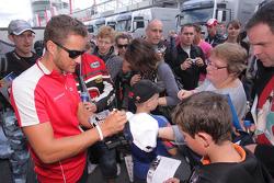 Timo Scheider, Audi Sport Team Abt signing autographs