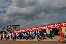 F3 Cars wait to leave the pits