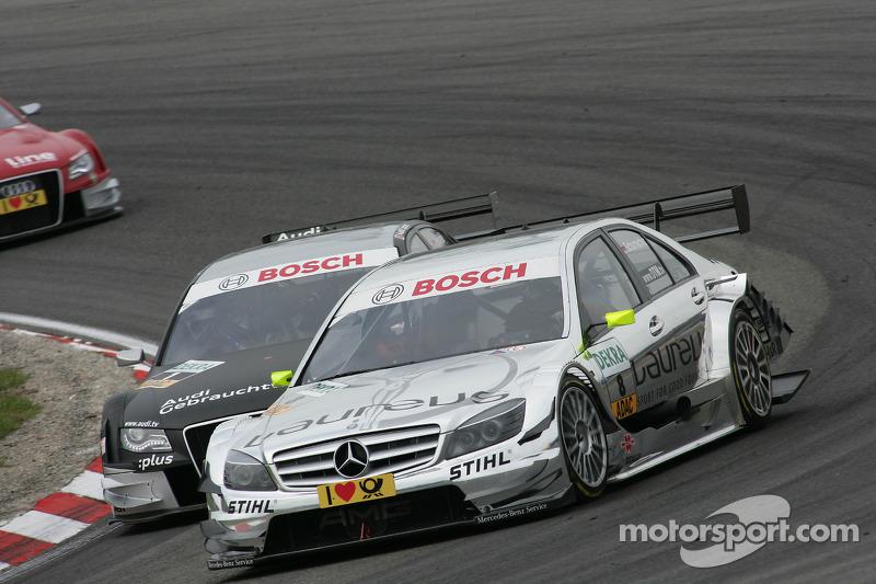 Ralf Schumacher, Team HWA AMG Mercedes C-Klasse en Timo Scheider, Audi Sport Team Abt Audi A4 DTM