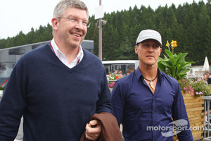 Ross Brawn Team Principal, Mercedes GP and Michael Schumacher, Mercedes GP