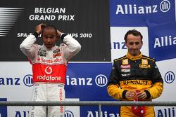 Podium : Lewis Hamilton vainqueur et Robert Kubica, troisième