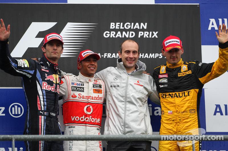 2010: 1. Lewis Hamilton, 2. Mark Webber, 3. Robert Kubica