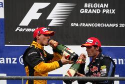 Podium : seconde place pour Mark Webber, troisième place pour Robert Kubica