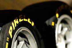 Pirelli logo on a tyre