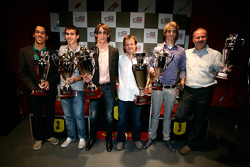 Esteban Gutierrez receives the prize for 1st overall in the Championship with Guillaume Capietto from ART Grand Prix receives the prize for 1st overall in the Championship and Teddy Yip from Status Grand Prix receives the prize for 2nd overall in the team