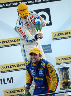 Tom Chilton covers Andrew Jordan in champagne
