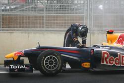 Sebastian Vettel, Red Bull Racing had his engine blew up
