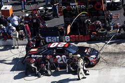 Pit stop for Joey Logano, Joe Gibbs Racing Toyota