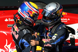Race winner Sebastian Vettel, Red Bull Racing, second place Mark Webber, Red Bull Racing