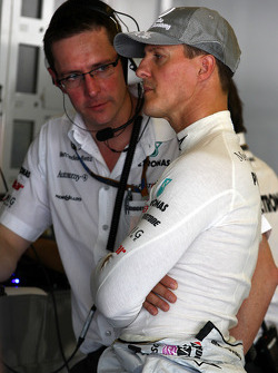 Andrew Shovlin, Mercedes GP, Senior Race Engineer van Michael Schumacher, Michael Schumacher, Mercedes GP