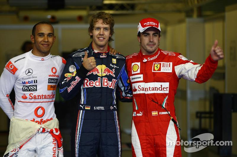 Polepositie Sebastian Vettel, Red Bull Racing, 2de Lewis Hamilton, McLaren Mercedes, 3de Fernando Alonso, Scuderia Ferrari
