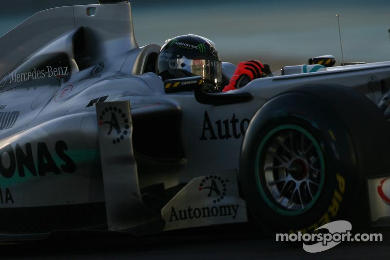 Michael Schumacher, Mercedes GP Petronas testing a new helmet