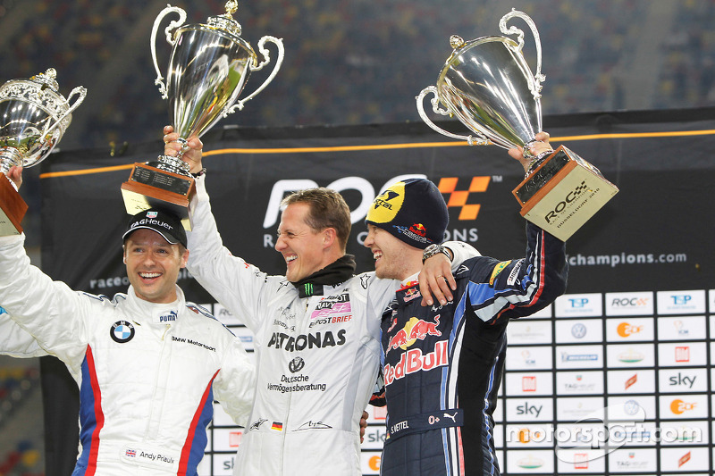 Podium: Nations Cup winners Michael Schumacher and Sebastian Vettel for Team Germany, second place Andy Priaulx for Team Great Britain