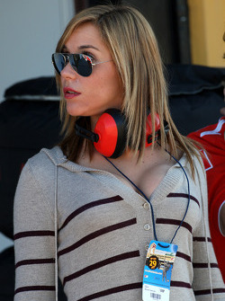 A lady in the pitlane