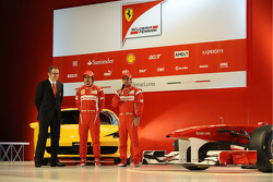 Stefano Domenicali, Ferrari-Präsident; Fernando Alonso und Felipe Massa, Scuderia Ferrari