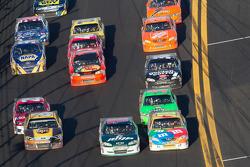 Kyle Busch, Joe Gibbs Racing Toyota, Dale Earnhardt Jr., Hendrick Motorsports Chevrolet and David Ragan, Roush Fenway Racing Ford battle