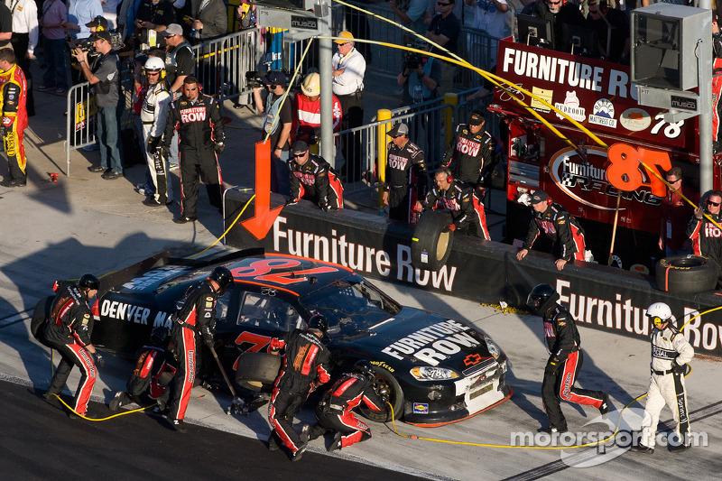 Pit Stop For Regan Smith Furniture Row Racing Chevrolet At Daytona 500