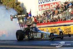Tony Schumacher doing his burnout aboard his US Army Top Fuel Dragster