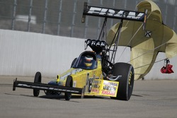 Spencer Massey deploys the parachutes on his Prestone / Fram Top Fuel Dragster