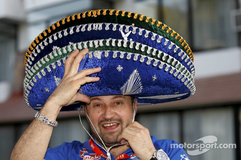Christian Loriaux, M-Sport technical director, tries on four sombreros