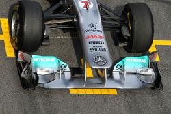 Detalle del alerón delantero del Mercedes GP