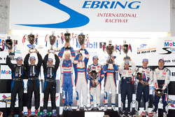 P1 podium: class and overall winners Nicolas Lapierre, Loic Duval and Olivier Panis, second place David Brabham, Marino Franchitti and Simon Pagenaud, third place Alexander Wurz, Marc Gene and Anthony Davidson
