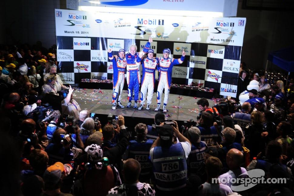 P1 podium: overall winners Nicolas Lapierre, Loic Duval, Olivier Panis