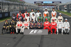 The traditional drivers group photo
