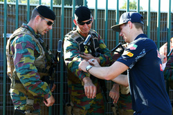 Max Verstappen, Red Bull Racing signs autographs for the armed guards