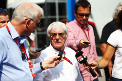Bernie Ecclestone, with the media