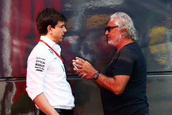 (L to R): Toto Wolff, Mercedes AMG F1 Shareholder and Executive Director with Flavio Briatore,