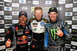 Winner Johan Kristoffersson, Volkswagen Team Sweden, Sébastien Loeb, Team Peugeot Hansen, Andreas Bakkerud, Hoonigan Racing Division