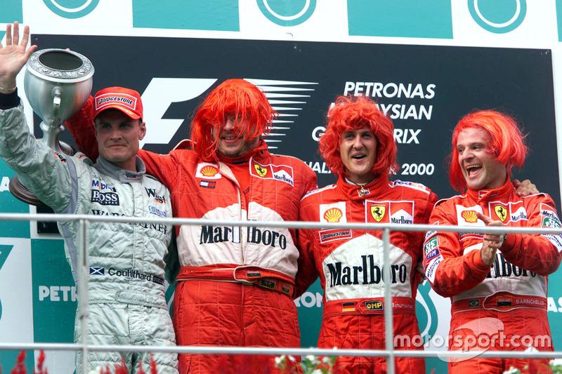 2000: 1. Michael Schumacher, 2. David Coulthard, 3. Rubens Barrichello