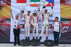 Podium: race winner Akash Gowda, second place Presley Martono, third place Gabriel Cabrera