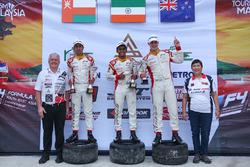 Podium: race winner Akash Gowda, second place Faine Kahia, third place Khalid Al Wahaibi