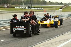 Car of Ryan Briscoe, Team Penske towed on pitlane