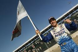 Pole winner Mario Dominguez celebrates