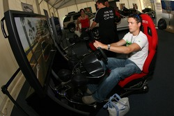 Ford display area: fans play a racing simulator