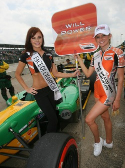 The charming 'Face of Champ Car' girl with the 'Miss Grand Prix of Houston' girl