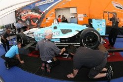 Champ Car tech inspection team member at work