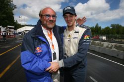Pole winner Tristan Gommendy celebrates with team owner Kevin Kalkhoven